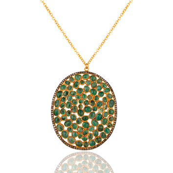 Natural Emerald Raw Gemstone Pave Diamond Pendant In 18K Gold On Sterling Silver