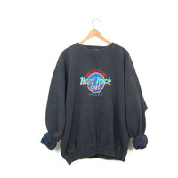 Vintage Hard Rock Cafe Sweatshirt HONOLULU 80s Sweatshirt Washed Out Faded Black Oversized Sweatshirt 90s Hipster Grunge Womens Mens XL