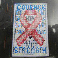 "Handmade, Unframed, ""Courage"" Cross Stitch- Awareness, Hope, Cancer, Fibromyalgia, Hope Ribbon, Rheumatoid Arthritis, Leukemia, Gift"