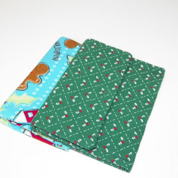 Green Holly Quilted or Home for the Holidays Card Holder Case Your Choice of one