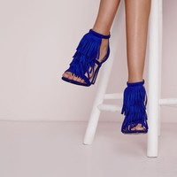 Missguided - Tassel Front Barely There Heeled Sandals Cobalt Blue