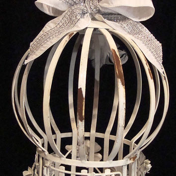 OOAK Vintage Antique White Or Cream and Rust Hot Air Balloon Birdcage Italian Tole French Nordic Shabby Chateau Chic Wedding Card Birdcage