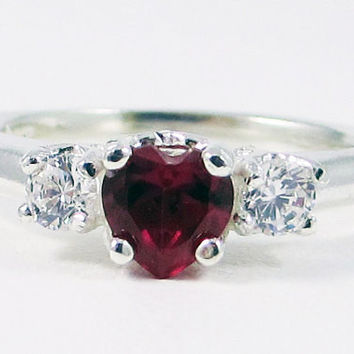 Ruby and CZ Heart Ring, 925 Sterling Silver, July Birthstone Ring, Red Ruby Heart Ring, Sterling Silver Ring, CZ Accent Ring, 925 Ruby Ring