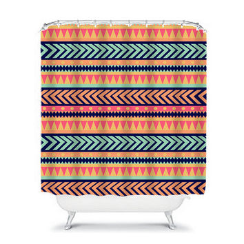 Shower Curtain Aztec Tribal Chevron Arrows Colorful Turquoise Orange Navy Mint Geometric Pattern Bathroom Bath Polyester Made in the USA