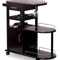 Espresso Entertainment Cart Wine Rack On Wheels