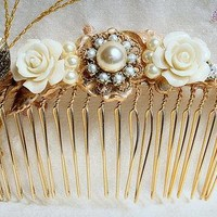 Bridal Hair Comb-Wedding Hair Accessories,Shabby Chic,Gold,Flowers-Noa