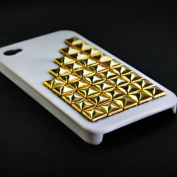 Iphone 4 case  golden studded white case by CRISION on Etsy