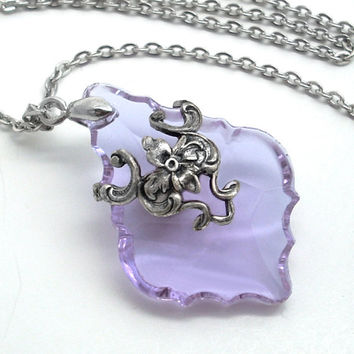 Lavender French Cut Glass Prism in Silver Filigree Pendant Necklace Jewelry Crystal Jewellery