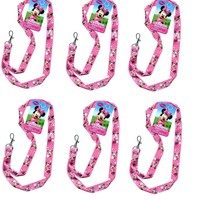 "Disney Minnie Mouse Pink Bowtique Pin Trading Keychain Lanyard 18"" -6 Pack"