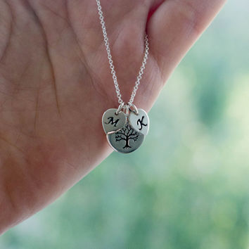Sterling Silver Personalized Family Tree Necklace - Personalized Jewelry . Gift for Mother, Grandmother, New Mom Necklace
