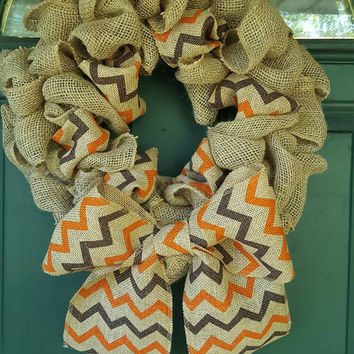 Fall Chevron Burlap Wreath , Brown Orange, Thanksgiving Halloween
