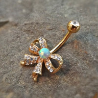 Fire Opal Gold Bow Belly Ring Cute Fits in Navel Body Jewelry Navel Piercing 14ga Fits in Navel