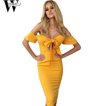 WYHHCJ 2017 Off Shoulder Summer Dress Sexy Club Bow Backless Zipper Solid Sheath Fashion Party Dresses vestidos