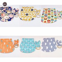 Let's Make Baby Cotton Bibs Bunny Ear Wooden Teether 12pc/6lot Baby Teether Toddler Drool Bib Montessori Toys Bandana Bracelets