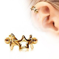 Star Cartilage Cuff Cartilage Piercing Gold Stars Cartilage Earring