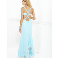 Faviana 2013 Prom - Aqua Asymmetrical Ruched Chiffon Prom Dress - Unique Vintage - Prom dresses, retro dresses, retro swimsuits.