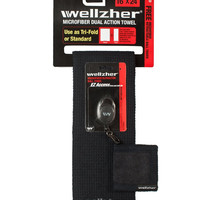 "Wellzher Premium Microfiber Dual Action Golf Towel 16""""x24"""" with Free Retractable Golf Ball Towel (Black)"