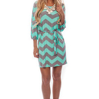 Mint Chevron Print Shift Dress - Mint