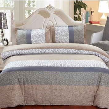 Bedding Set 4pcs/Set European Classical Simple Style Cotton Pillowcase Duvet Cover Bed Sheet 1.5M/1.8M for Home Family Couple