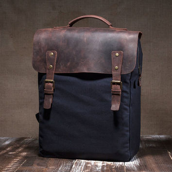Canvas backpack men - hipster backpack - mens backpack - canvas rucksack - laptop bag - leather backpack - school backpack - navy blue