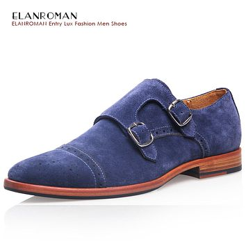 ELANROMAN Brand Fashion Mens casual shoes luxury genuine leather flats business formal shoes mens dress monk strap shoes