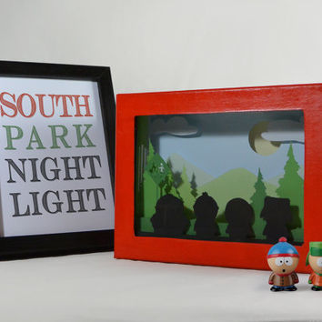 South park shadow box night light, special night light, unique gift, geek night light, tv series night light,south park gift, home decor