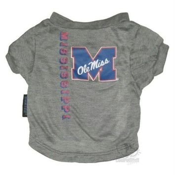 CREYONI Ole Miss Rebels Heather Grey Pet T-Shirt
