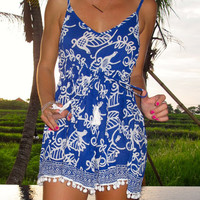 Pom Pom Jumpsuit / Playsuit, Short Beach Dress, Cobalt Blue Bird Print Skort Shorts