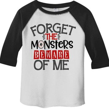 Kids Funny Halloween Shirt Forget Monsters Beware Of Me Toddler Shirts Adorable Halloween Top  3/4 Sleeve Raglan Boy's Girl's