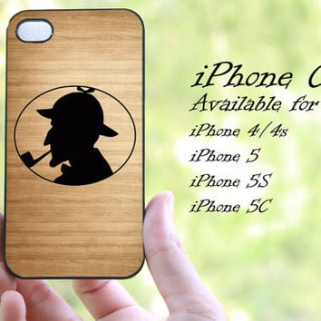 Sherlock Holmes on wood design iphone case for iphone 4 case, iphone 4s case,iphone 5 case, iphone 5s case, iphone 5c case
