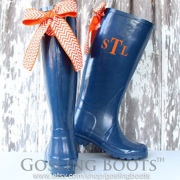 Custom Monogrammed Navy Rain Boots with Orange Bows