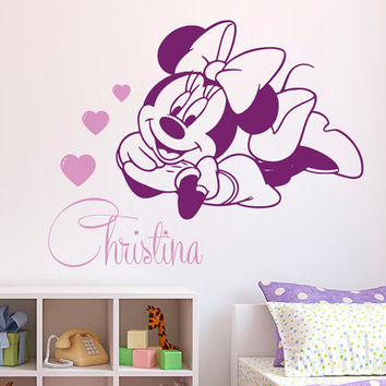 Name Wall Decal Minni Mouse Girl Personalized Name Stickers Vinyl Decals Art Mural Home Bedroom Decor Interior Design Nursery Wall Decor KY1