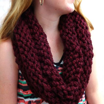 Wool Knit Cowl - Wine Colored Layered Cowl - Wool Blend Cowl - Winter Cowl - Warm Cowl - Wool Chunky Cowl - Infinity cowl - Circle Cowl