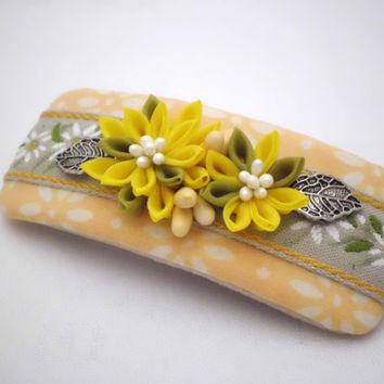 Handmade FRENCH BARRETTE, Yellow chrysanthemum kanzashi, Cottage chic, Upcycle batik, Fabric flower hair clip, Gift, ooak