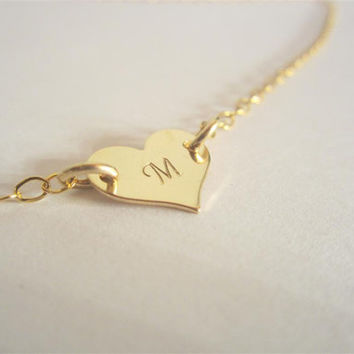 Gold heart, tiny initial necklace, personalized heart charm necklace