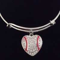 Baseball Heart Rhinestone Expandable Charm Bracelet Adjustable Bangle League Gift