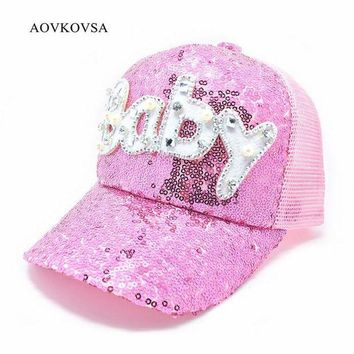 DCCKWJ7 2017 Top Fashion New Adult Pearl Sequins Pearl Baseball Cap Women And Letter Baby Shiny Snapback Hat