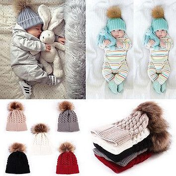 2017 Winter Baby Boys Girls Knitted Cap Warmer Wool Fur Toddler Kids Cap Crochet Pompom Ball Baby Cute Hat 5Colors