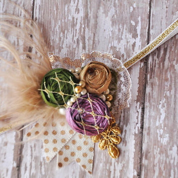 Sweet Princess girls headband-Persnickety Fall 2014-Purple, olive and gold-photo prop-newborn to adult sizes-by Mckenzie Grace Designs
