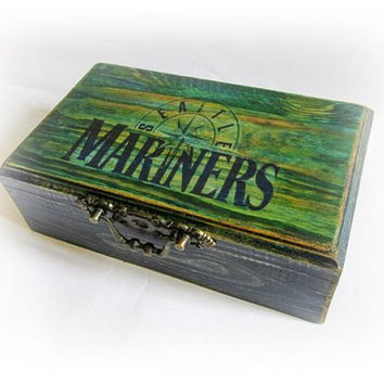 Custom Mens Box Personalized Cigar Box Gift For Men Seattle Mariners Antique Decoupage Box Unique Men's Gift Birthday Present Fathers Day