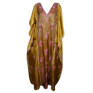 Mogul Womens Kimono Silk Kaftan Double Shaded Floral Embroidered Kashmiri Caftan Evening Dresses Kaftan Maxi Dress Golden Brown luxury Caftan Cover Up - Walmart.com