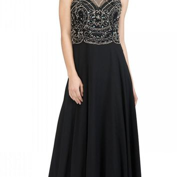 Illusion Sweetheart Neckline Beaded Long Prom Dress Black