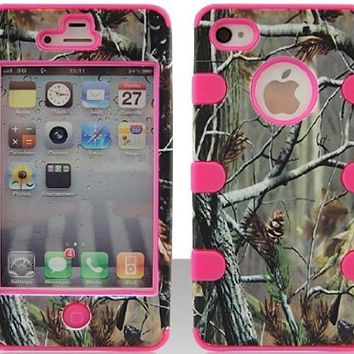 Apple iPhone 4 4s hybrid 3 in 1 Green Camo with Pink Gel Realtree hunting camouflage high impact shock defender plastic outside with silicone inside 3 in1 2D hard case phone cover