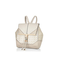 River Island Womens Grey studded leather-look backpack