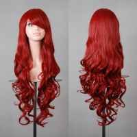 "Hunnt® 32"" 80cm Long Hair Heat Resistant Spiral Curly Cosplay Wig Red Wine"
