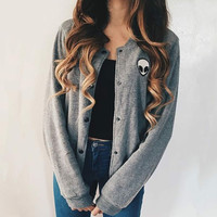 Solid color loose long-sleeved jacket