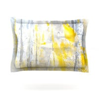 """CarolLynn Tice """"Abstraction"""" Grey Yellow Cotton Sham - Outlet Item"""