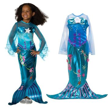 Girls Ariel Cosplay Costume Children The Little Mermaid Dress Transparent Long Sleeve Kids Halloween Party Fancy Sequined Gown
