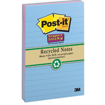 Post-it Recycled Super Sticky Notes, 5 x 8-Inches, Assorted Tropical Colors, Lined, 2-Pads/Pack