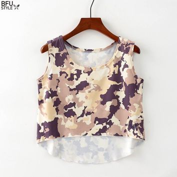 Printing Women Female Crop Tops New Fashion Unicorn Piggy Camouflage Halter Top Tank Sleeveless Cropped Summer Tee Female Vest